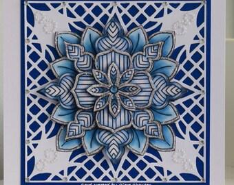 Blue Snowflake Medallion Christmas Card