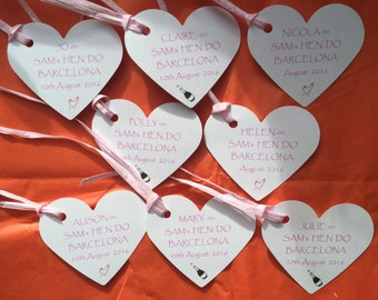 Hen Do Wedding Favours Party Bag and TAGS Personalised CANDLES AND Gift Tags