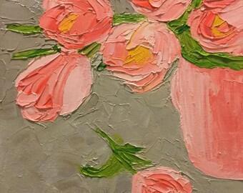 Pink Tulip Flowers in Pink Cup, 9x12 Original Oil Painting using Impasto Paste