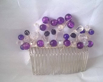 Purple Hair Comb, Handmade Hair Comb. Bridal Party, Bridesmaid, Wedding, Hair Accessories, Decorative Combs