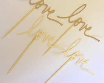 12 gold and ivory LOVE Cupcake Toppers Bridal Party, Wedding, engagement party, birthday, gold glitter love, food pick, cake topper