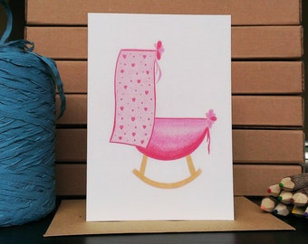 Card Pink Bassinet - A6 Greeting Card with Envelope - Blank Card - Birth Girl - Card Recycled Paper.