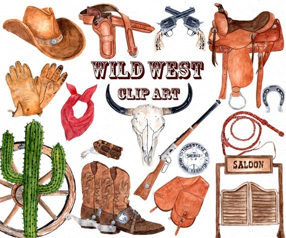 Watercolor Western Clipart COWBOY CLIPART Skull - Western clipart