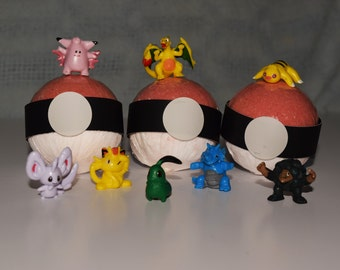 Pokemon Toy Surprise Bubbling Bath Bomb / Toy Embed/ Pokeball/ Bath Bombs for Kids/ Fun for all Ages /Stocking Stuffers