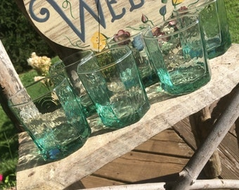 1980's Set of 4 (FOUR) Libbey Facets Old Fashioned Glasses in Green- lowball, whiskey glasses,barware, scotch glasses, Rocks glass, octagon