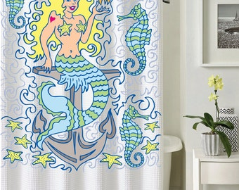 mermaid shower curtain ocean shower curtain illustrated art nautical art creative shower