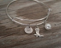 Cowboy Boot Bangle Bracelet - Cowboy Gift - Cowgirl Gift -  Boot Charm - Western Gift - Country Gift - Rancher - Heart/Bead