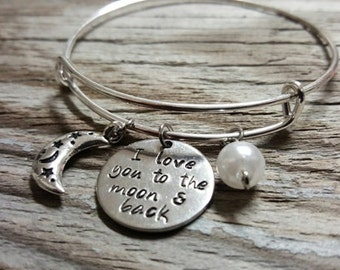 Hand Stamped Bangle Bracelet - I Love You to the Moon & Back - Love Bangle - Moon Charm