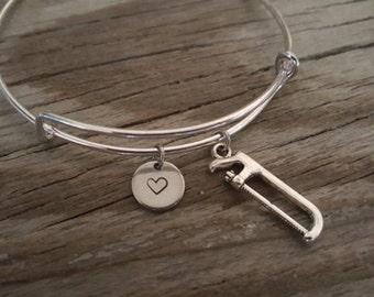 Saw Bangle Bracelet - Construction Gift - Builder Gift - Lumberjack - Lumberjill - Heart