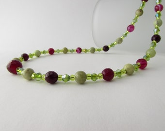 Peridot, Fuchsia Banded Agate & Sterling Silver Necklace, Peridot Necklace, Agate Necklace
