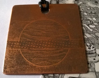 Hand made etched copper pendant - planet