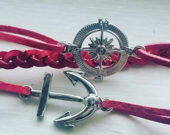 Anchor bracelet/anchor bracelet/red bracelets/braided bracelet/bracelets/compass/anchor