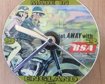 Classic BSA Motorcycle , Get Away With BSA, Vintage Advertising Poster, CD Clock (Can be personalised)