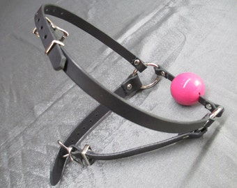 Medical Grade Silicone and 100% Black Leather Head Harness Ball Gag