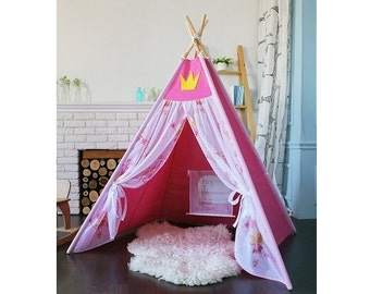 Teepee for a princess Gift for girl Christmas presents ?astle for a princess Nominal wigwam Tipi  sc 1 st  Etsy & Girls play tent | Etsy