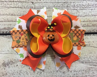 Pumpkin Hair Bow Fall Boutique Bow Girls Hair Bow Halloween Bow Thanksgiving Hair Bow Pumpkin Hair Bows