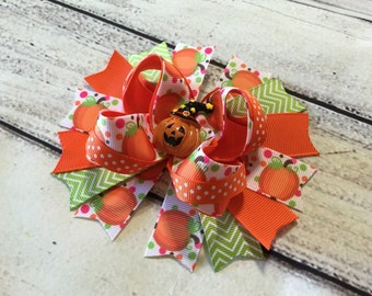 Pumpkin Hair Bow Thanksgiving Hair Bow Girls Hair Bow Halloween Bow Thanksgiving Boutique Bow Pumpkin Boutique Hair Bow