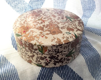 Vintage Japanese Paper Mache Coaster Set With Box Gold Birds and Floral Print 6 Coasters 1960s Decor Gift Ideas Creation