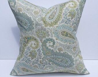Throw pillow, accent pillow, decorative throw pillow cover, couch pillow cover, blue green pillow cover, accent pillow cover, home decor