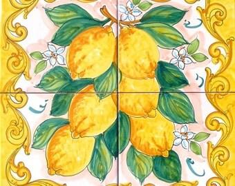 HandPainted Tile Mural, Yellow Lemon, Ceramic Tile Art and Craft, Lemon Decor, Tile Mural Backsplash, Backsplash Outdoor Tiles, Indoor Tiles
