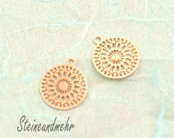 2 x BOHO gold plated pendant filigree 12 mm rose #3130