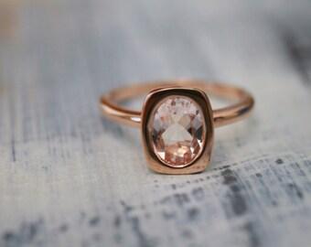Bezel Rose Gold Morganite Engagement Ring, Rose Gold Morganite Ring, Morganite Ring, Rose Gold Ring, Bezel Ring