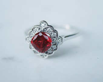 Vintage Ruby Ring with Floral Diamond Halo Design in White Gold, Chatham Ruby Ring, Red Gemstone Ruby White Gold Ring