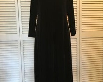 Black Vintage Grunge 90s Velour Midi Dress