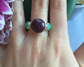 Genuine Ruby Ring, Genuine Chrysoprase, Unique Ruby Ring, Birthstone Jewelry, July Birthstone, Statement Ring, Sterling Silver Ring