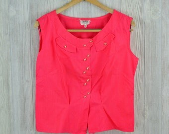 1950's Vintage Women's 38 Pink Sleeveless 100 Cotton Blouse Double Button Close