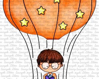 Hot Air Balloon Digital Stamp by Sasayaki Glitter