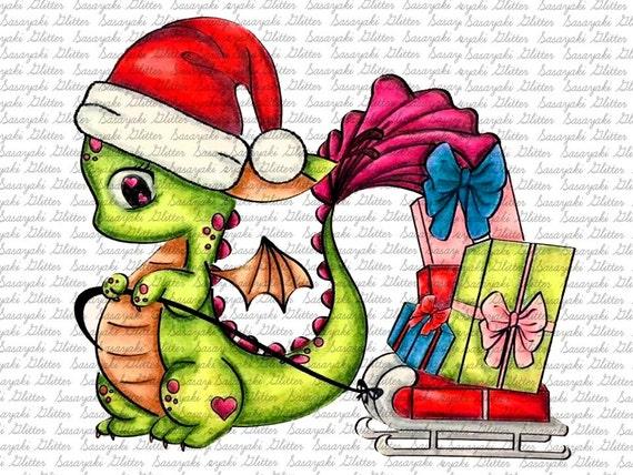Christmas Dragoon Digital Stamp by Sasayaki Glitter - Naz - Line art only