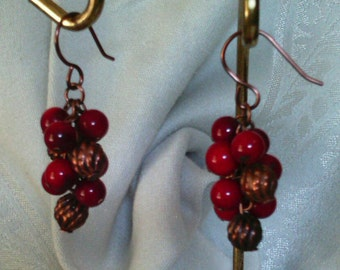Red Jasper and Copper Cluster Earrings
