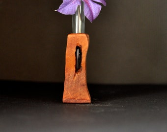 Handmade wooden flower bud vase with glass vial to hold flower.
