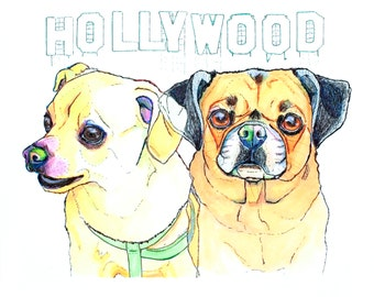 8x10 Custom Hand Painted Stylized Duo Pet Portrait. From Photos. Paper on Panel