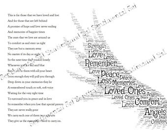 Bespoke Bereavement Poem and Angels Wing word art