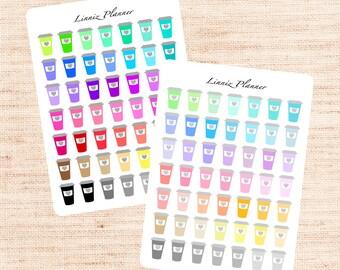 Coffee Cup Functional Basics (matte planner stickers, Erin Condren, Happy Planner)