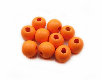 Orange Wood Beads, 12mm Wood Beads, Orange Wooden Beads, Round Beads, Wood Beads, Orange Beads, Jewelry Making, Graft Supplies