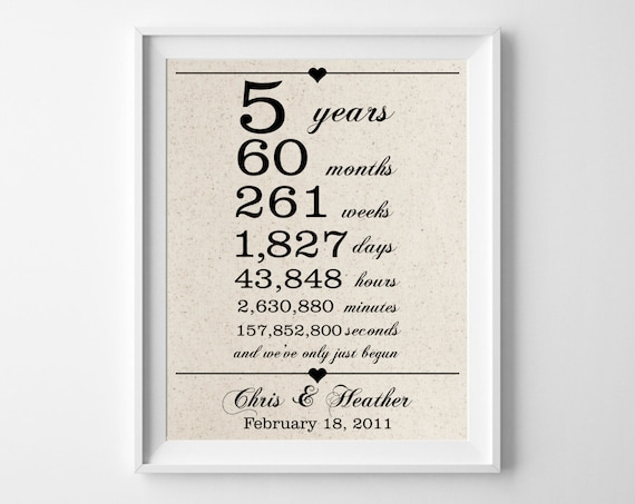 5 Years Together Cotton Gift Print 5th Anniversary Gifts