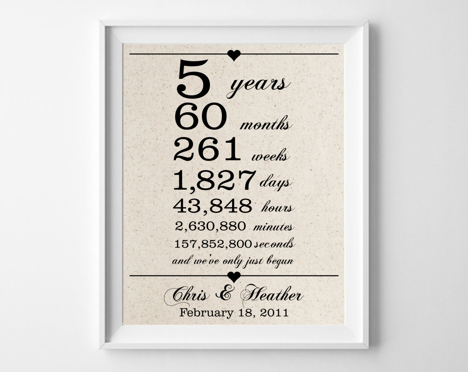 4th Wedding Anniversary Gifts For Husband: 5 Years Together Cotton Gift Print 5th Anniversary Gifts