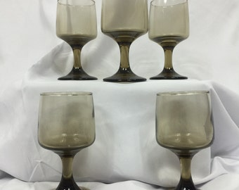Vintage 70s Wine glasses- (Libbey Tawny Accent Smoke Brown Wine  Goblets) 5 Piece set