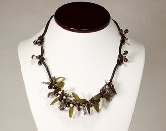 Leather and Bead Necklace Spiky Bead Necklace Earthtone Green Brown Purple and White Necklace