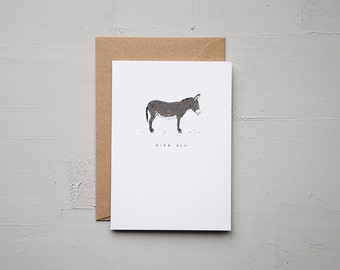 Nice Ass - Donkey Card - Anniversary Card - Funny Card - Birthday Card - Love Card - Note Card - Animal Card