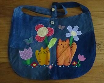 UniCat Bag - Cat Purse, hand painted denim