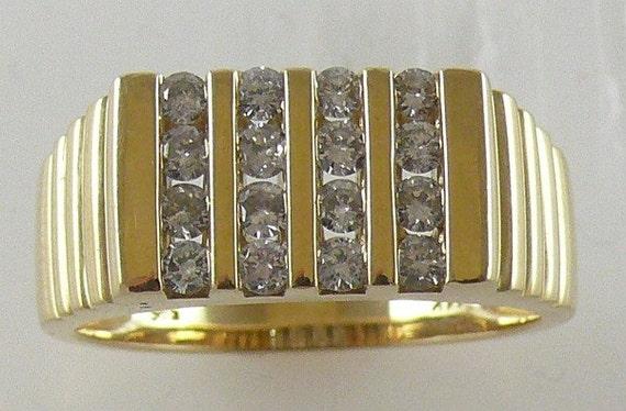 Diamond 0.66ct Men's Ring 14k Yellow Gold