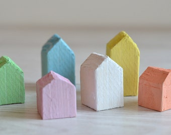 Little wooden houses - Pastel