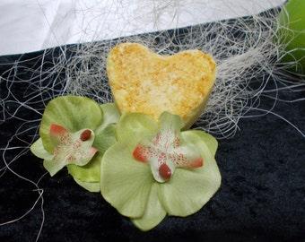 Handmade bath bomb xxl heart-shaped lemon/orange