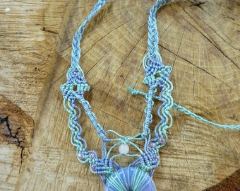 Macrame Necklace with Moonstone Donut