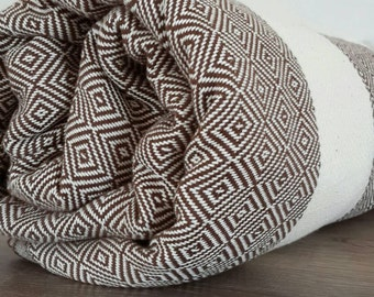 Brown Cotton throw - Diamond blanket throw - Large Bedspread - Family Picnic Blanket - Sofa throw - Coverlet.  80x95 inches