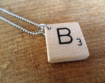 HANDMADE Scrabble letter Necklace (alphabet)